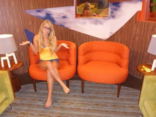 Nicole in the orange chairs