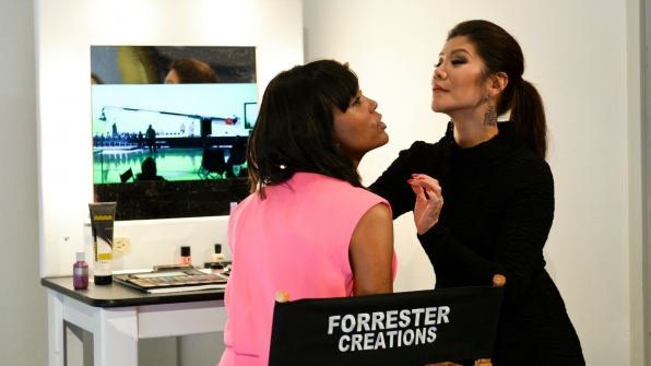 Julie Chen and Aisha Tyler freshened up at the The Bold and the Beautiful's Forrester Creations makeup table.