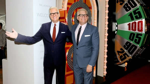 Drew Carey met his cardboard-cutout double.