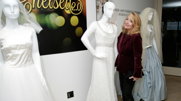 Melody Thomas Scott posed next to one of her gorgeous Y&R wedding dresses.