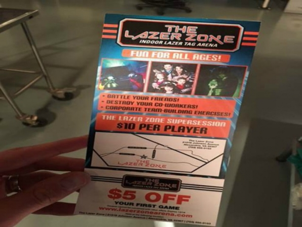 "Episode writers are typically asked to provide copy for prop documents, like the ""Lazer Zone"" brochure featured in the episode."
