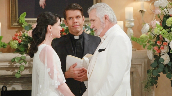 Quinn and Eric got married at the Forrester mansion on B&B.
