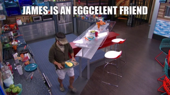 7. James showed his support for Audrey by making her breakfast.