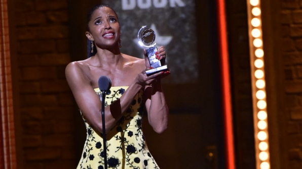 Renée Elise Goldsberry wins the 2016 Tony Award for Best Performance by an Actress in a Featured Role in a Musical.