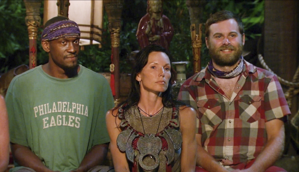 Gervase, Monica and Caleb at tribal council in Season 27 Episode 10