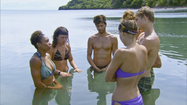 In the water in Season 28 Episode 6