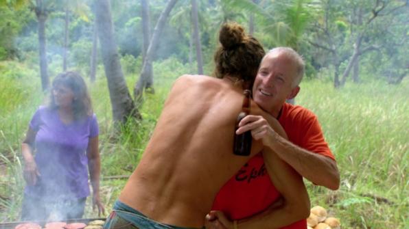 Joe gives Dale a big 'ol hug during their big gathering.