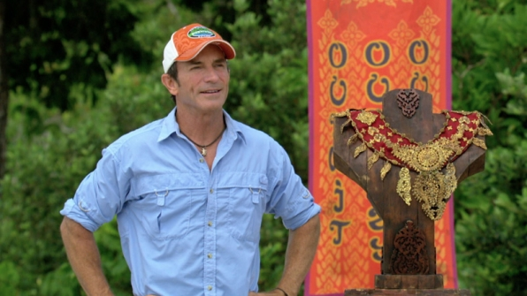 Jeff stands by the Individual Immunity necklace before giving instructions on the challenge.