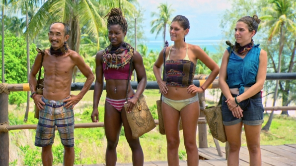 Tai, Cydney, Michele, and Aubry await instructions from host Jeff Probst during this season's final Reward Challenge.