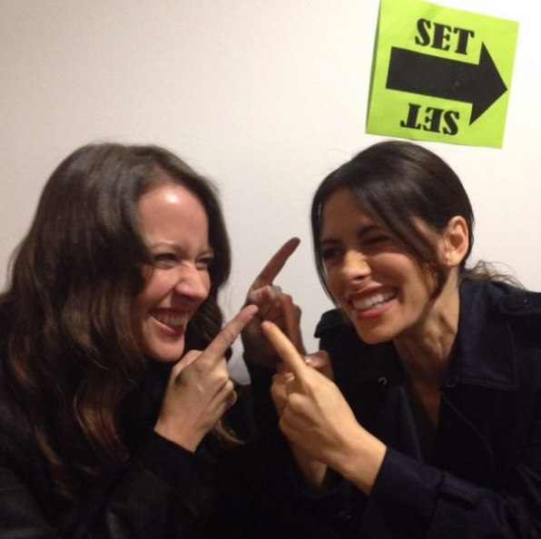 Person of Interest Instagram - Sarah Shahi and Amy Acker
