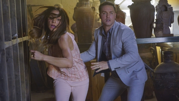 Katharine McPhee as Paige Dineen and Scott Porter as Tim Armstrong