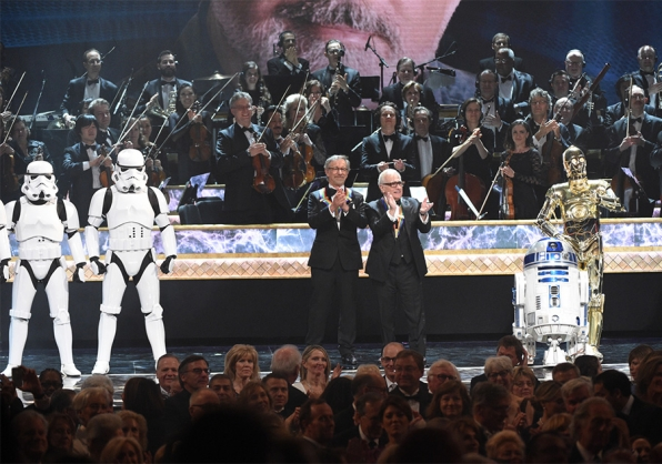 Famed directors Steven Spielberg and Martin Scorsese pay homage to George Lucas.