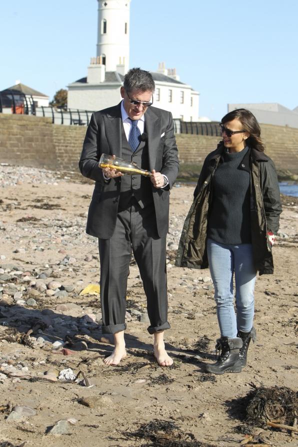 Craig and Rashida Jones in Arbroath Harbour