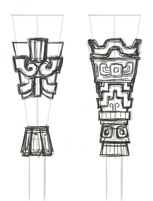 An original sketch of the torches