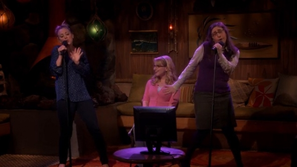 Penny, Bernadette, and Amy celebrate with some karaoke