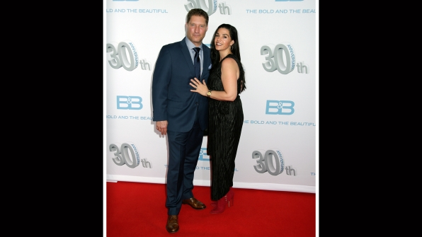 Sean Kanan makes an entrance with his wife, Michele Vega.