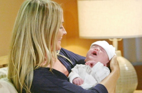 Sharon swaddles her new son, Sully.