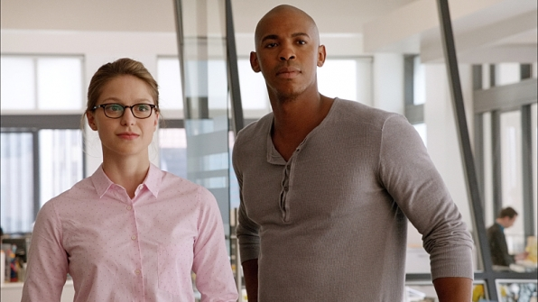 Melissa Benoist as Kara Zor-El and Mehcad Brooks as James Olsen in Supergirl.