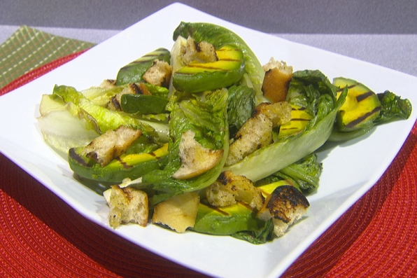 Susan Feniger's Grilled Romaine and Avocados with Spicy Caesar Dressing, Torn Bread Croutons