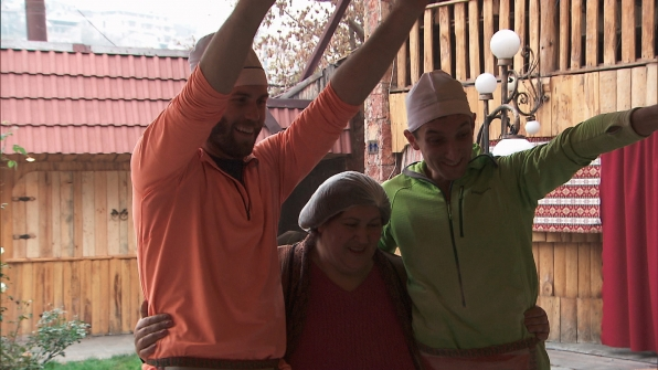 Brodie and Kurt give one local Armenian a big hug.