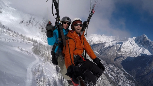 In this Roadblock, Brodie paraglides 7,000 feet over Chamonix and looks for a yeti waving a flag.