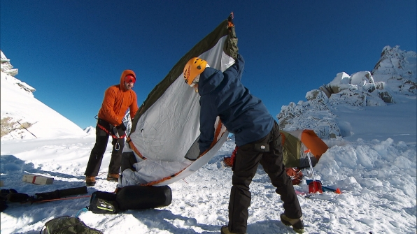 In Detour A, Burnie and Ashley must set up a two person camp on L'Aiguille Verte glacier.
