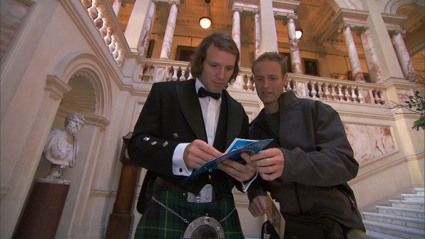 "Dressed in Scottish attire in ""Working Our Barrels Off"" Season 22 Episode 10"