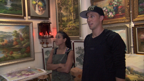 At Detour B, Dana and Matt check out the art pieces before getting started.