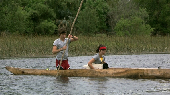 "Propeling a canoe in ""Be Safe and ""Don't Hit a Cow"" Episode 7 of Season 22"