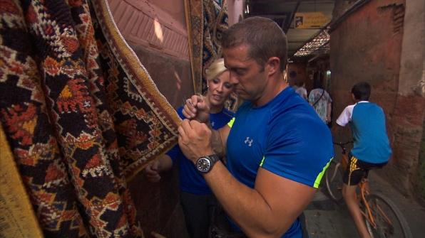 Misti and Jim help display carpets