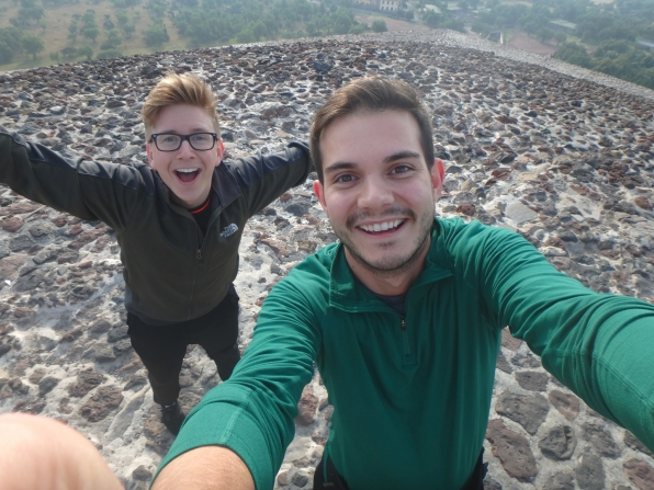 Tyler and Korey were all smiles at the top of the Teotihuacán Pyramids.