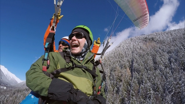 Korey shares his enthusiasm for the Race as he flies through the air.