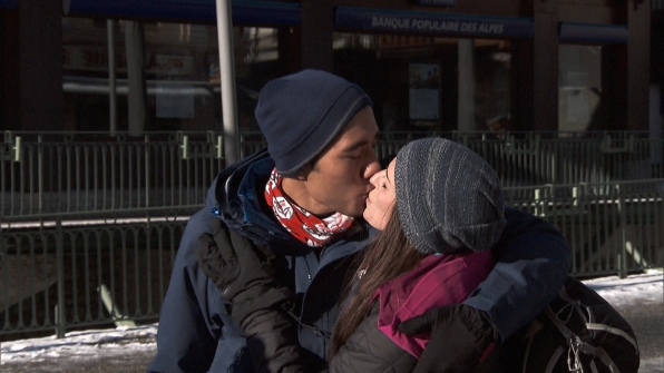 Zach and Rachel share a smooch at the Route Marker.