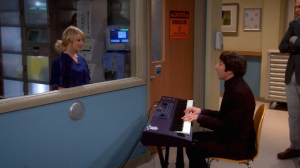 Howard serenading Bernadette in the hospital