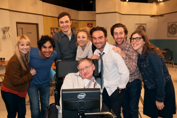 The Big Bang Theory cast with Stephen Hawking