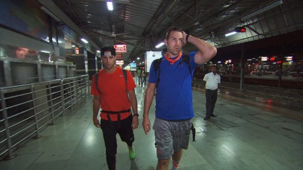 Tanner (left) and Josh (right) are stranded in a New Dehli train station.