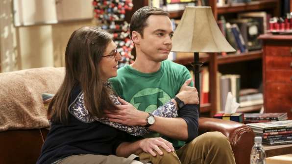 ShAmy hold each other in Sheldon's apartment.