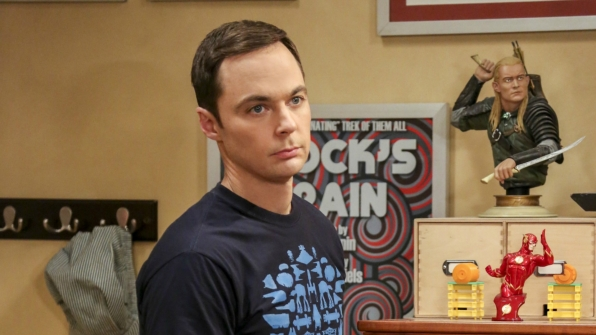 Sheldon does not look pleased.