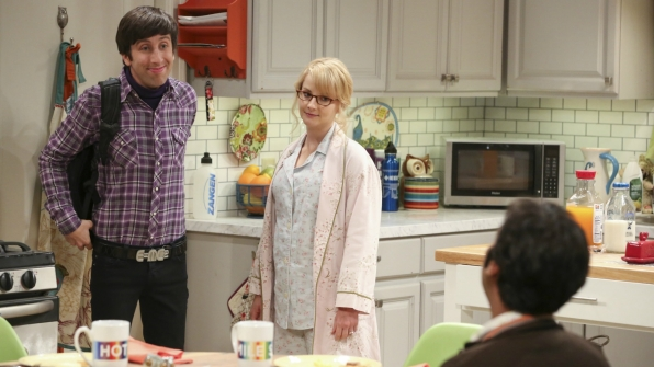 Raj prepares a hot meal for Howard and Bernadette.