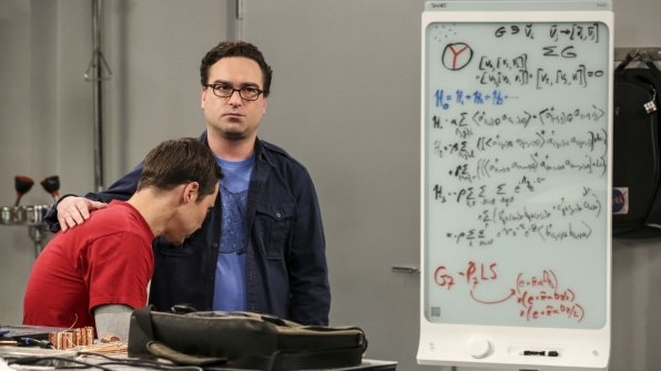 Leonard comforts Sheldon in his time of need.