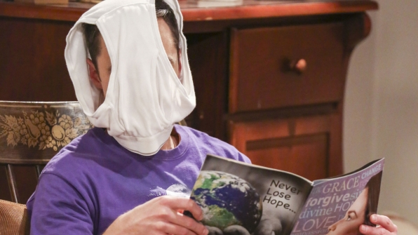 If Sheldon wants to read that magazine, he might have a better chance by removing his undies.