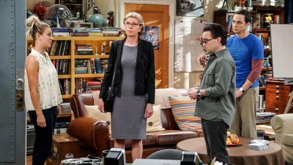 Penny, Beverly, Leonard, and Sheldon experience an awkward family moment.