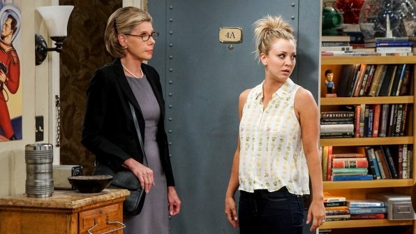 Penny stands aside while Leonard's mother, Beverly (Christine Baranski), enters the apartment.