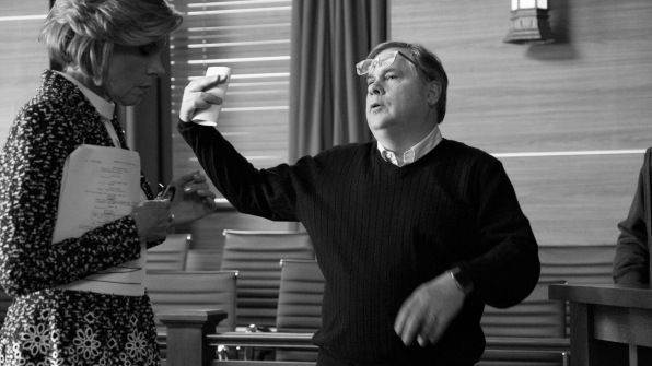 Robert King directs Christine Baranski in the courtroom.