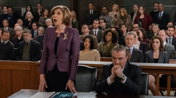 Diane Lockhart argues for Peter in court.