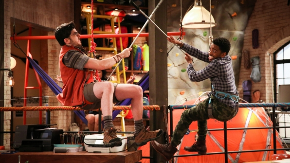 Clark (Christopher Mintz-Plasse) and Mason (Shaun Brown) spar with ski poles.