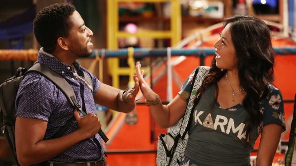 Mason and Emma (Christine Ko) high five.