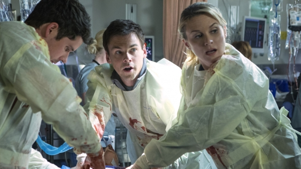 Tommy Dewey as Dr. Mike Leighton and Bonnie Somerville as Dr. Christa Lorenson