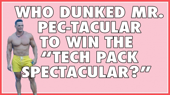"Who dunked Mr. PEC-Tacular to win the ""Tech Pack Spectacular?"""