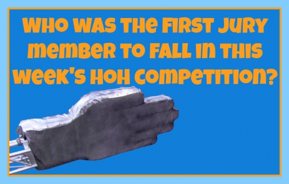 Who was the first Jury member to fall in this week's HoH competition?